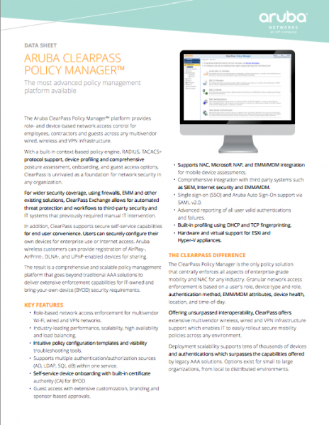 Aruba ClearPass Policy Manager